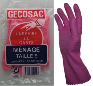 Paire de gants ménagers T9 latex flockés coton