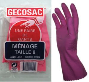 Paire de gants ménagers T8 latex flockés coton